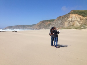Corinne and Dave, geeking out over evidence of a fault in the cliffs on Kehoe Beach.